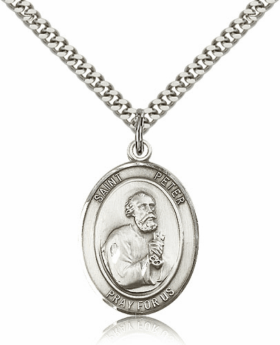 St Peter the Apostle Sterling Silver-filled Patron Saint Necklace by Bliss