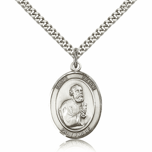 Bliss Manufacturing St Peter the Apostle Sterling Silver Medal Necklace