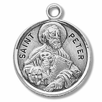 St Peter the Apostle Sterling Silver Patron Saint Necklace by HMH Religious