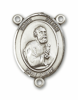 St Peter the Apostle Sterling Silver Saint Rosary Center by Bliss