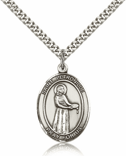 St Petronille Silver-filled Patron Saint Necklace with Chain by Bliss