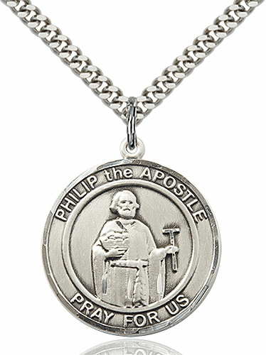 St Philip the Apostle Round Patron Saint Medal Necklace by Bliss