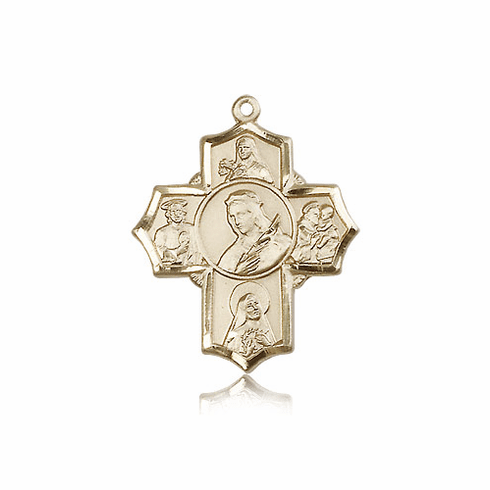 St. Philomena 5 Way Patron Saint 14kt Gold Cross Medal