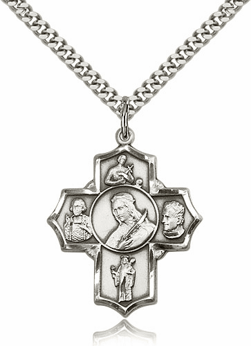 St. Philomena 5-Way Patron Saint Cross Sterling Silver Medal Necklace