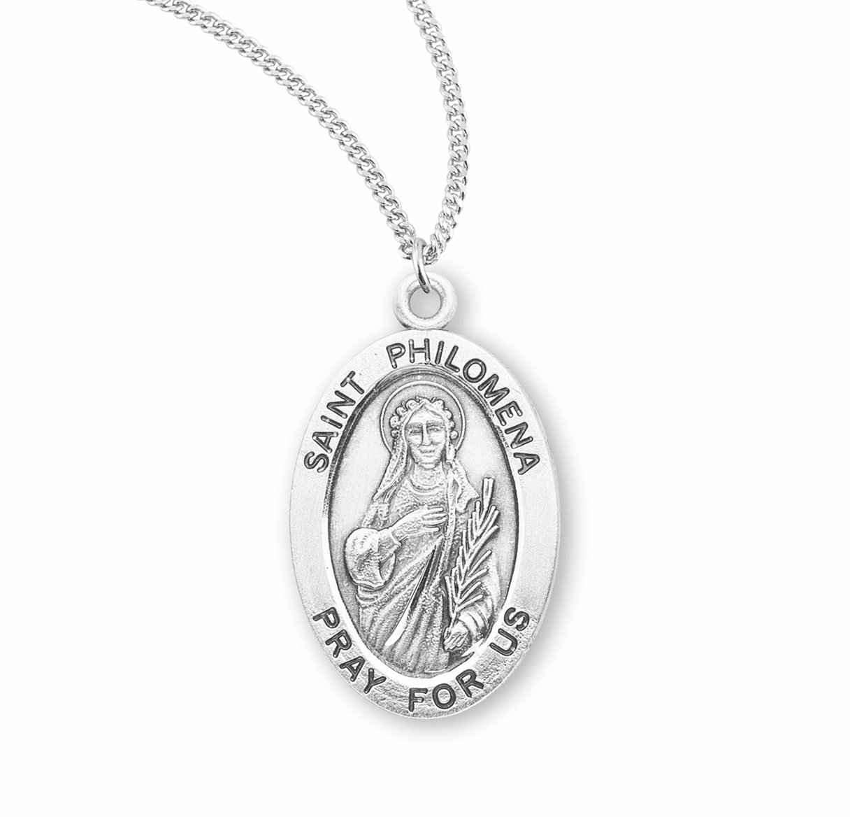 HMH Religious St Philomena Catholic Saint Sterling Silver Medal Necklace