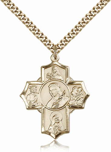 St. Philomena Five Way Gold Filled Patron Saint Cross Necklace