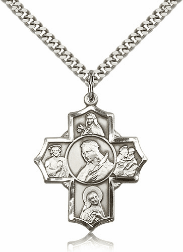 St. Philomena Five Way Sterling Silver Patron Saint Cross Necklace