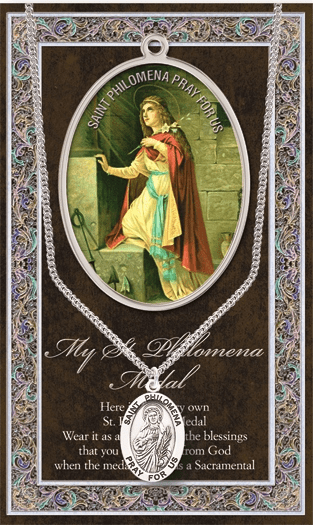 St Philomena Pewter Patron Saint Medal Necklace with Prayer Pamphlet by Hirten