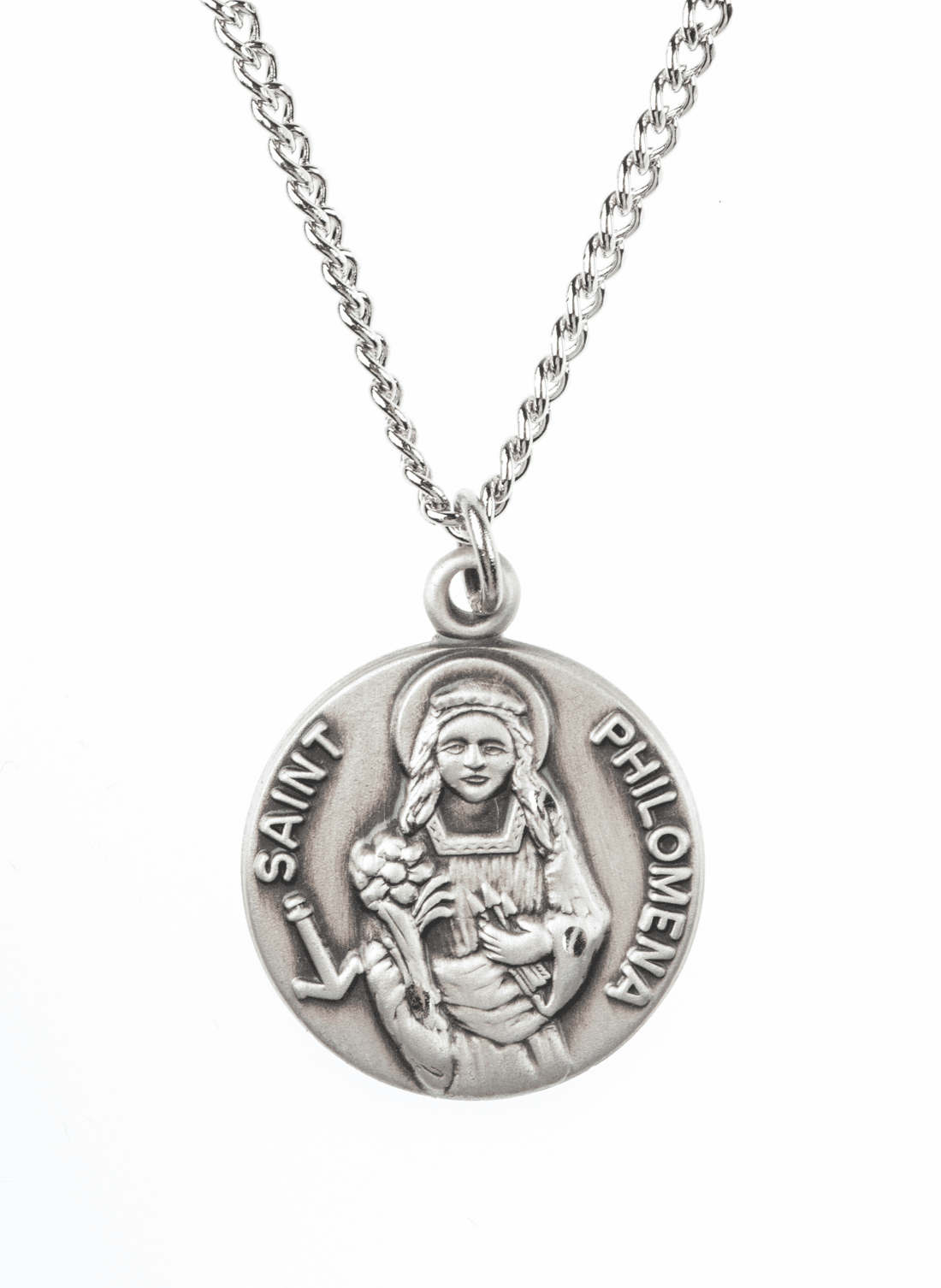 "St Philomena Saint Medal Pendant w/18"" Chain by Jeweled Cross"