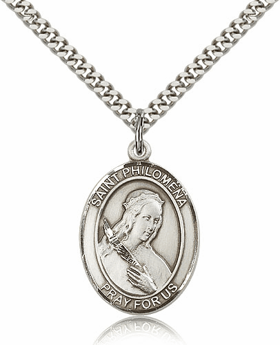 St Philomena Silver-filled Patron Saint Necklace with Chain by Bliss