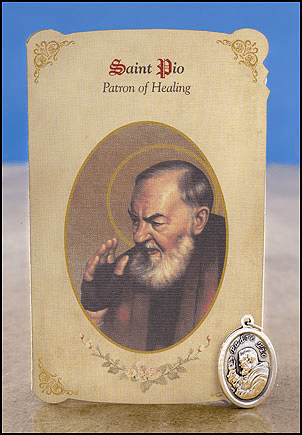 St Pio General Healing Holy Cards w/ Medals 6 pcs by Milagros