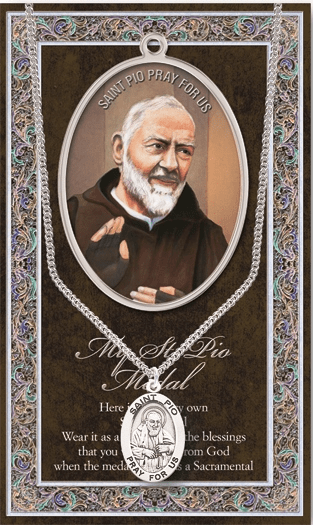 St Pio Pewter Patron Saint Medal Necklace with Prayer Pamphlet by Hirten