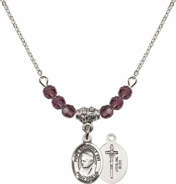 St Pope Benedict XVI 4mm Crystal February Amethyst Necklace by Bliss Mfg