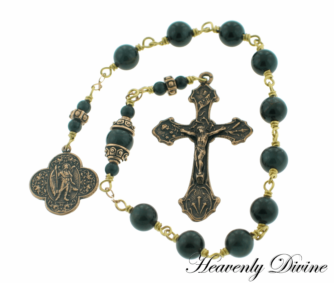 St Raphael Archangel Blue Tigereye Bronze Wire-Wrapped Pocket Rosary