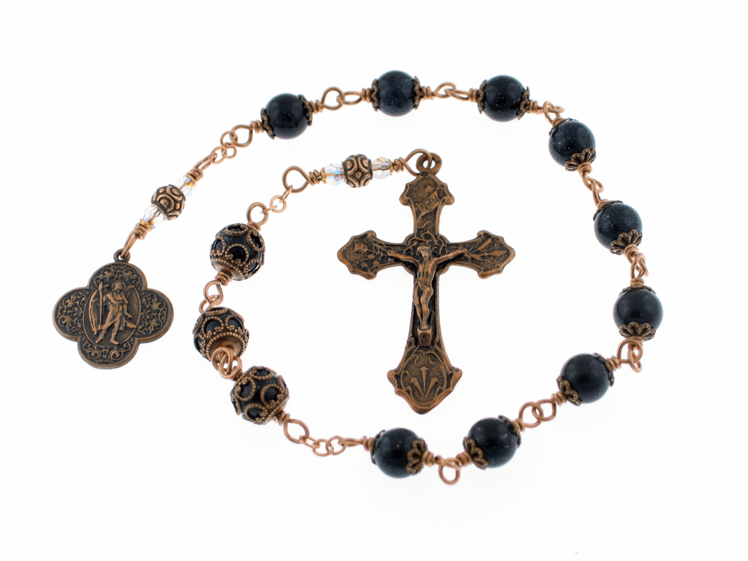 St Raphael Archangel Bronze Wire-Wrapped Prayer Chaplet by Heavenly Divine Rosaries