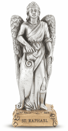 St Raphael Archangel Pewter Statue on Gold Tone Base by Hirten