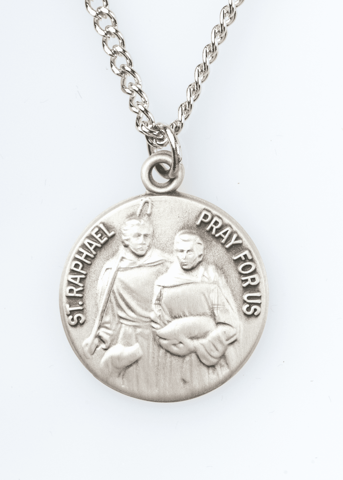 "St Raphael Saint Medal Pendant w/18"" Chain by Jeweled Cross"