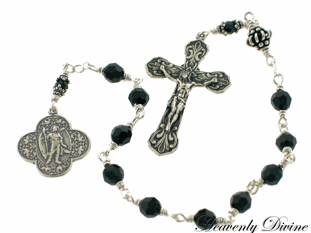 St Raphael Sterling Silver Black Swarovski Crystal Patron Saint Wire-Wrapped Pocket Rosary