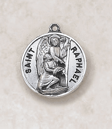 St Raphael Sterling Sterling Patron Saint Medal w/Chain by Creed Jewelry