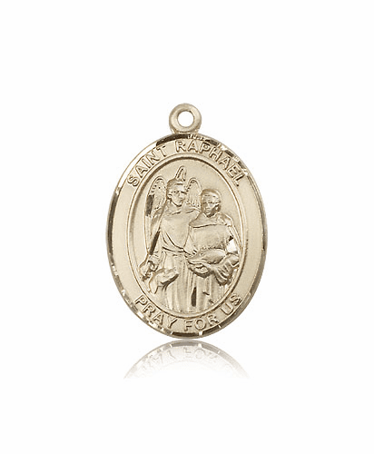 St Raphael the Archangel 14kt Gold Patron Saint Pendant Medal by Bliss