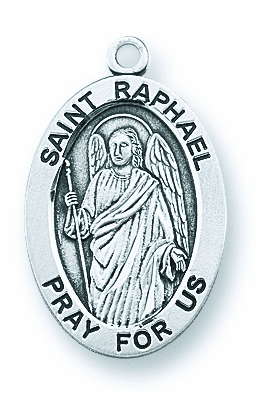 St Raphael the Archangel Large Oval Sterling Silver Medals by HMH Religious