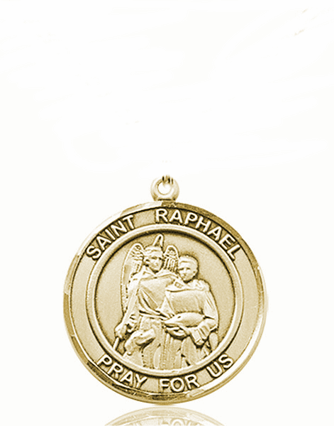 St Raphael the Archangel Medium Patron Saint 14kt Gold Medal by Bliss