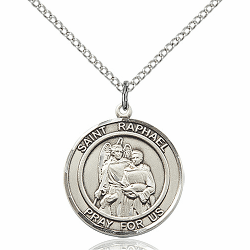 St Raphael the Archangel Medium Patron Saint Sterling Silver Medal by Bliss