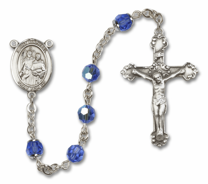 St Raphael the Archangel Sapphire Swarovski Sterling and Gold Rosaries by Bliss