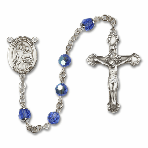 St Raphael the Archangel Patron Saint Sapphire Swarovski Sterling Rosary by Bliss
