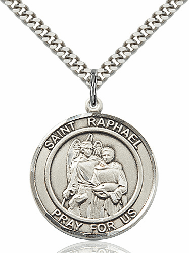 St Raphael the Archangel Round Patron Saint Medal Necklace by Bliss