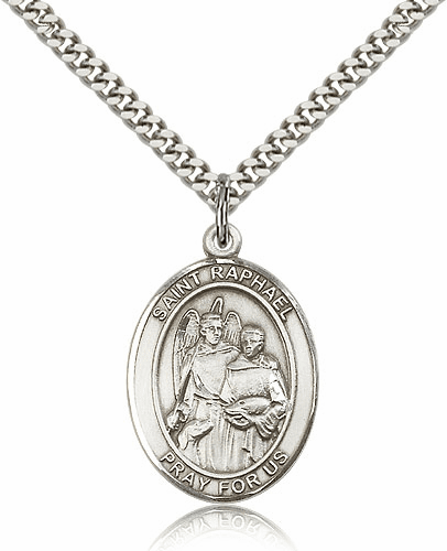 St Raphael the Archangel Sterling Silver-filled Patron Saint Necklace by Bliss