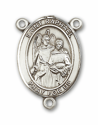St Raphael the Archangel Sterling Silver Saint Rosary Center by Bliss