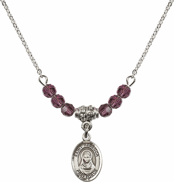 St Rebecca 4mm Crystal February Amethyst Necklace by Bliss Mfg