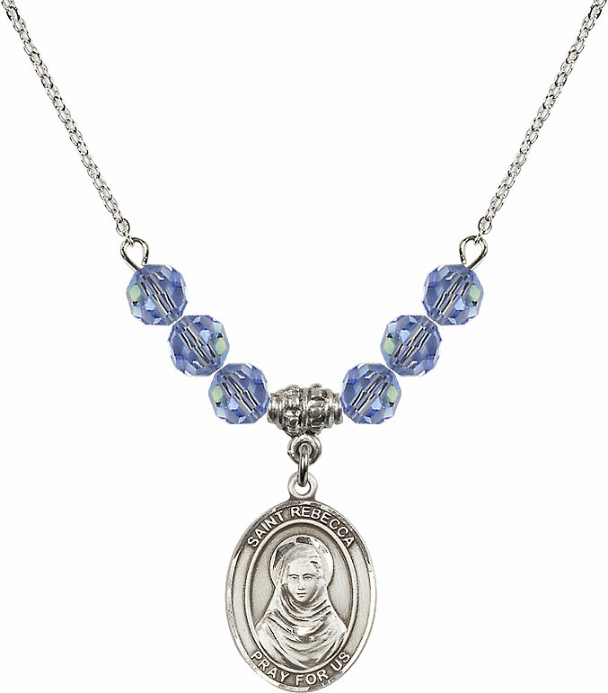 St Rebecca Crystal Beaded Patron Saint Necklace by Bliss Mfg