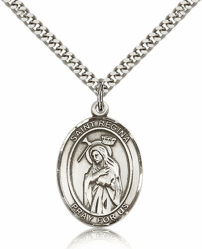 St Regina Silver-filled Patron Saint Necklace with Chain by Bliss