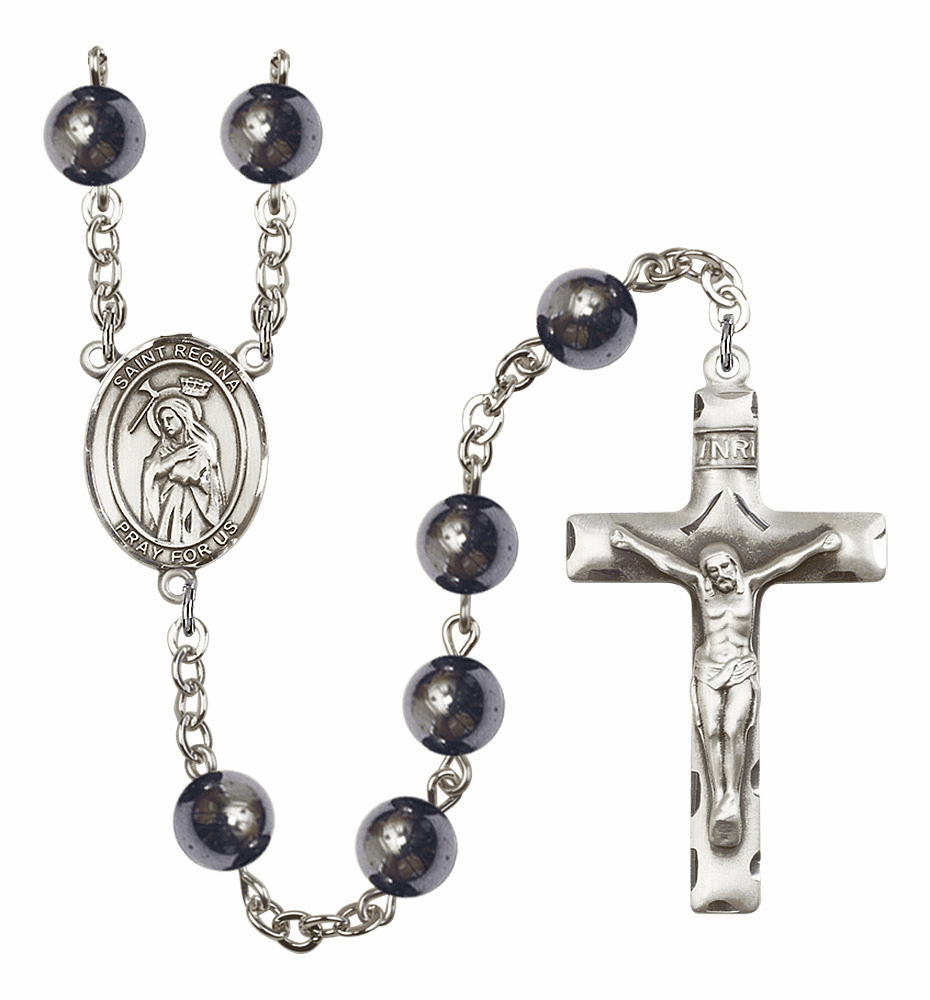 St Regina 8mm Hematite Gemstone Rosary by Bliss