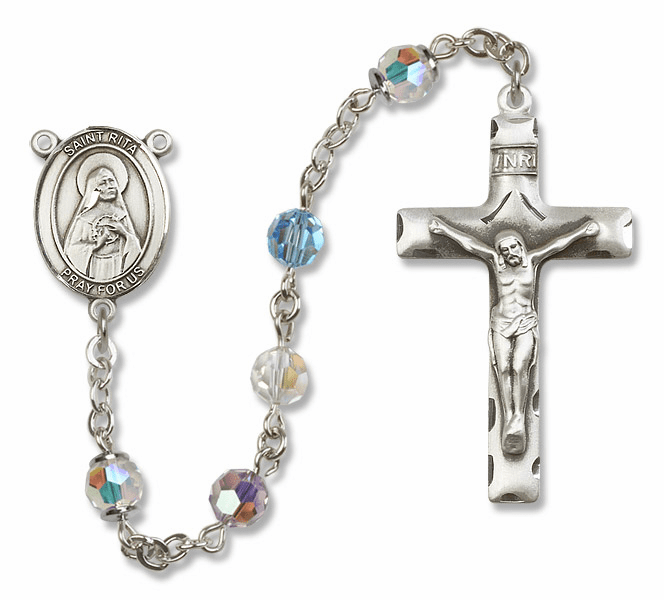 St Rita Baseball Sterling Silver Rosary by Bliss