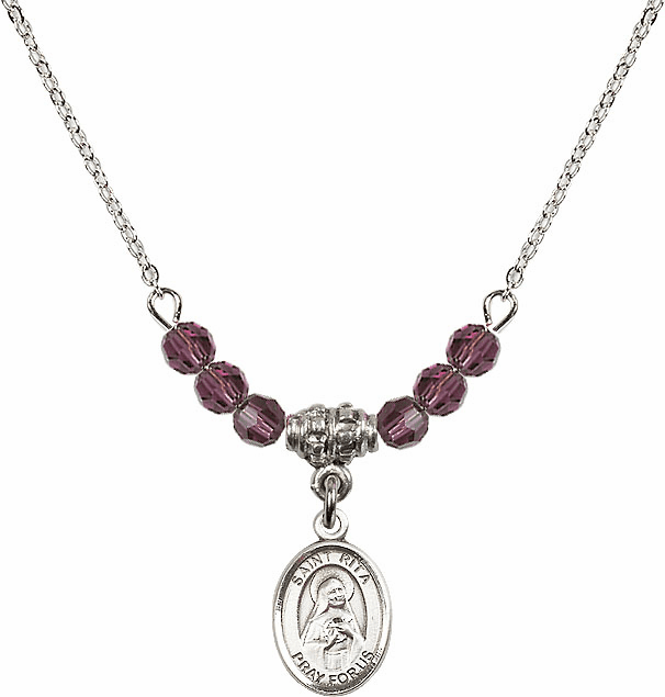 St Rita of Cascia 4mm Swarovski Crystal February Amethyst Necklace by Bliss Mfg