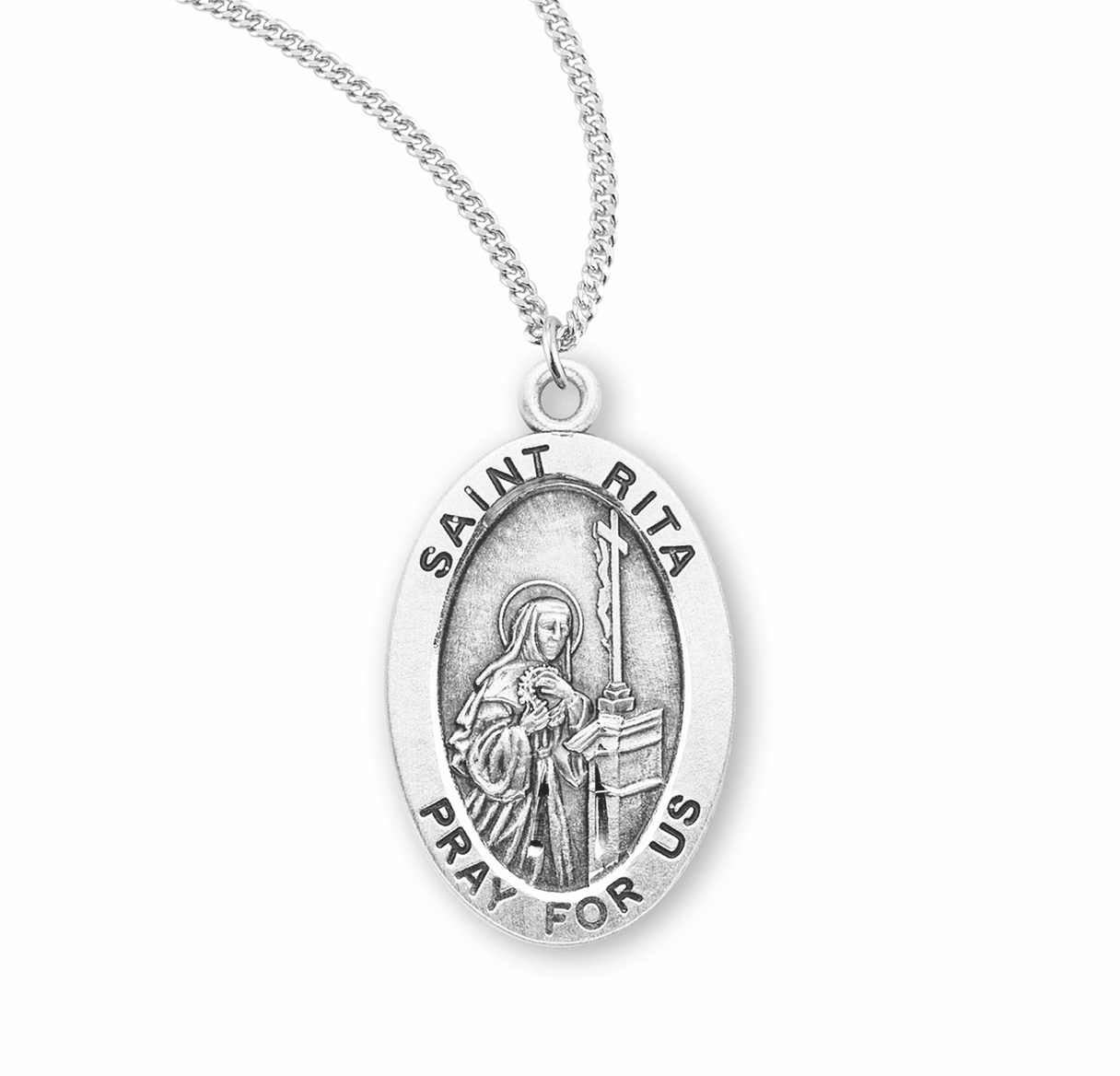 HMH Religious St Rita of Cascia Catholic Saint Sterling Silver Medal Necklace