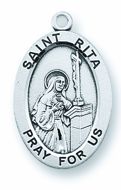 St Rita of Cascia Large Oval Sterling Silver Medals by HMH Religious
