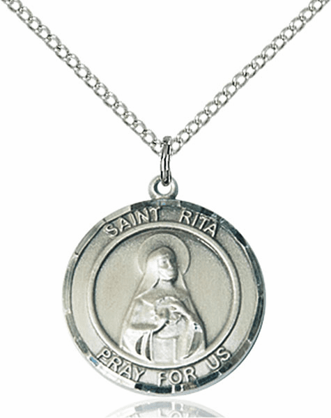 St Rita of Cascia Medium Patron Saint Sterling Silver Medal by Bliss
