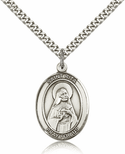 St Rita of Cascia Silver-filled Patron Saint Necklace with Chain by Bliss