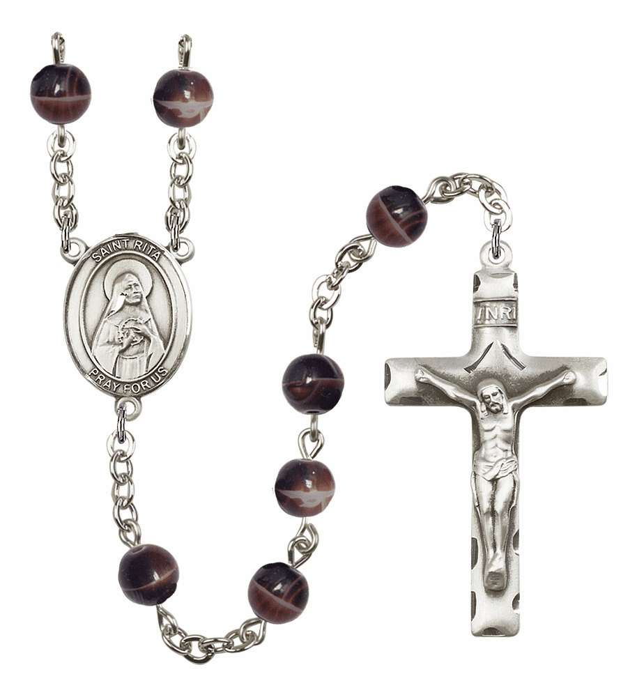 St Rita of Cascia Silver Plate 7mm Brown Gemstone Prayer Rosary by Bliss