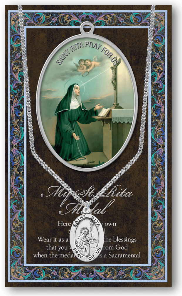 St Rita Pewter Patron Saint Medal Necklace with Prayer Pamphlet by Hirten