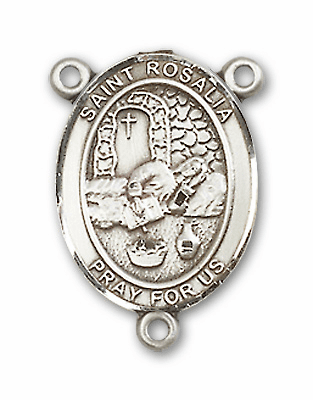 St Rosalia Sterling Silver Saint Rosary Center by Bliss