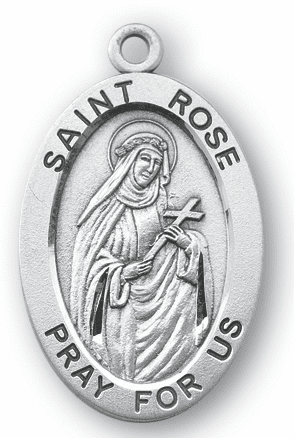 St Rose Large Saint Sterling Silver Medal Necklace w/Chain by HMH Religious