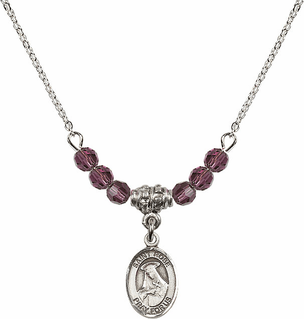 St Rose of Lima 4mm Swarovski Crystal February Amethyst Necklace by Bliss Mfg