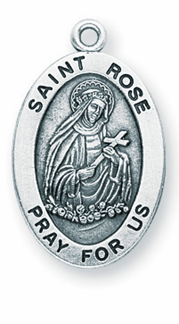 St Rose of Lima Large Oval Sterling Silver Medals by HMH Religious