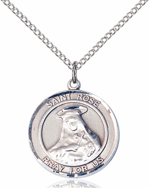 St Rose of Lima Medium Patron Saint Sterling Silver Medal by Bliss