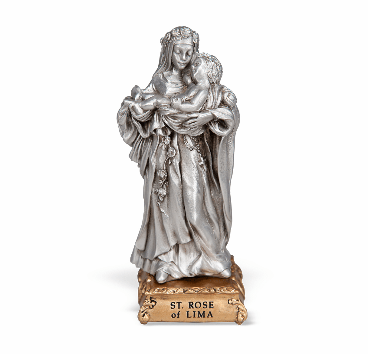 St Rose of Lima Patron Saint Pewter Statue on Gold Tone Base by Hirten